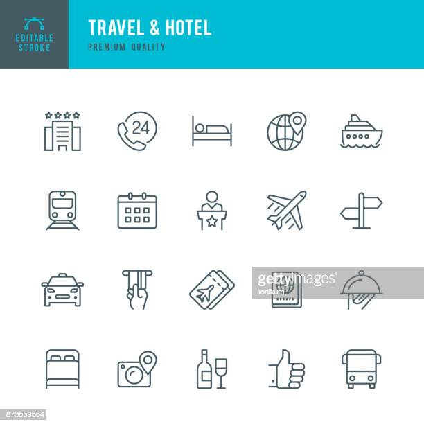travel & hotel - set of thin line vector icons - train vehicle stock illustrations