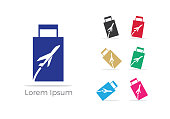 Travel icon design, Holiday bag and airplane icon, business trip, tourism, plane vector illustration.