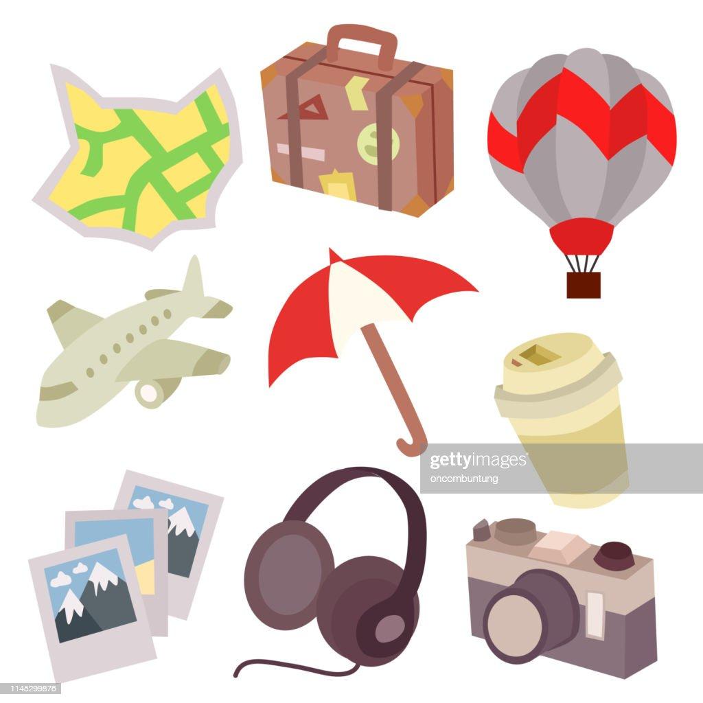 travel icon flat style set element