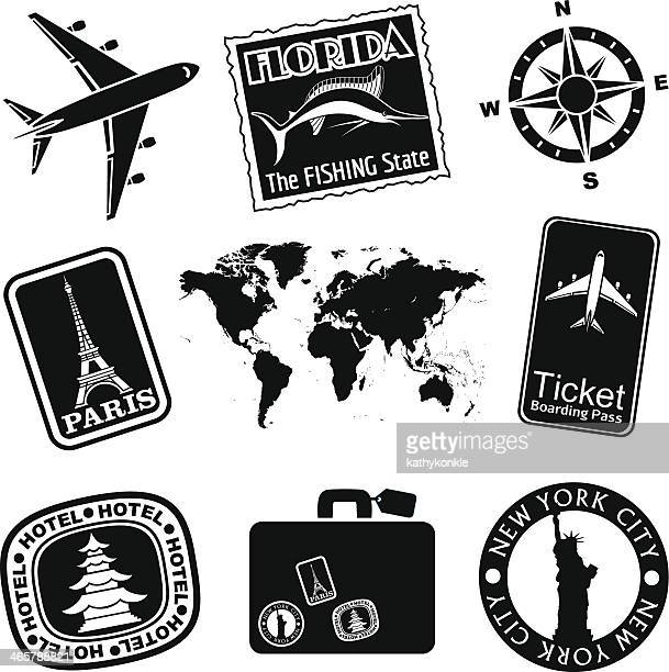 travel icon set black and white - liberty island stock illustrations, clip art, cartoons, & icons