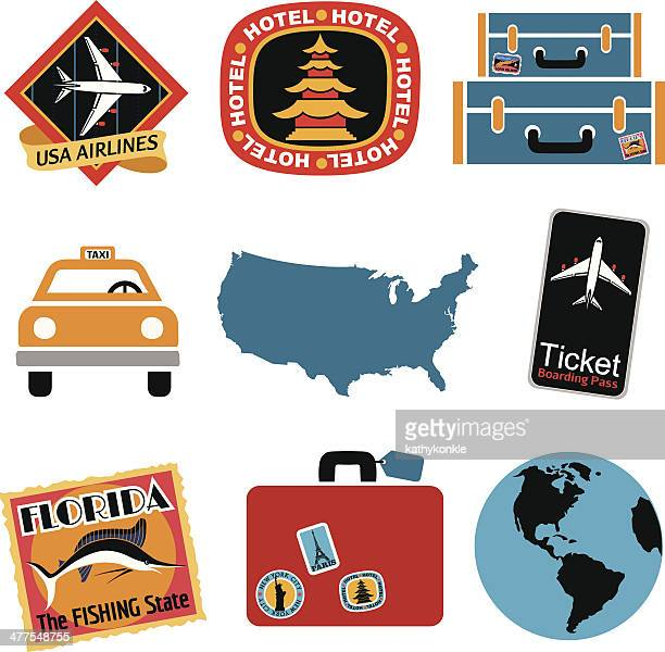 travel icon set in color - luggage tag stock illustrations, clip art, cartoons, & icons
