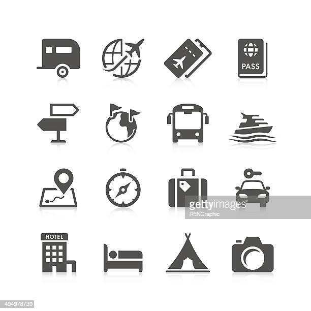 travel icon set | unique series - tourism stock illustrations
