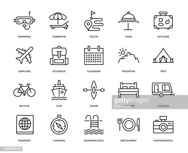 travel icon set - vacations stock illustrations