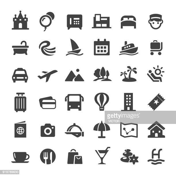 travel icons - big series - holiday travel stock illustrations, clip art, cartoons, & icons