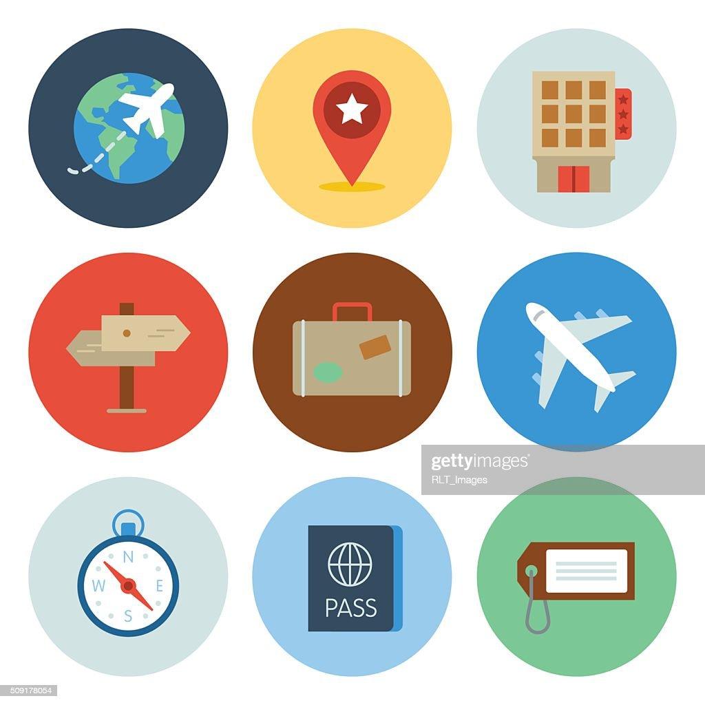 Serie círculo viaje iconos : Ilustración de stock