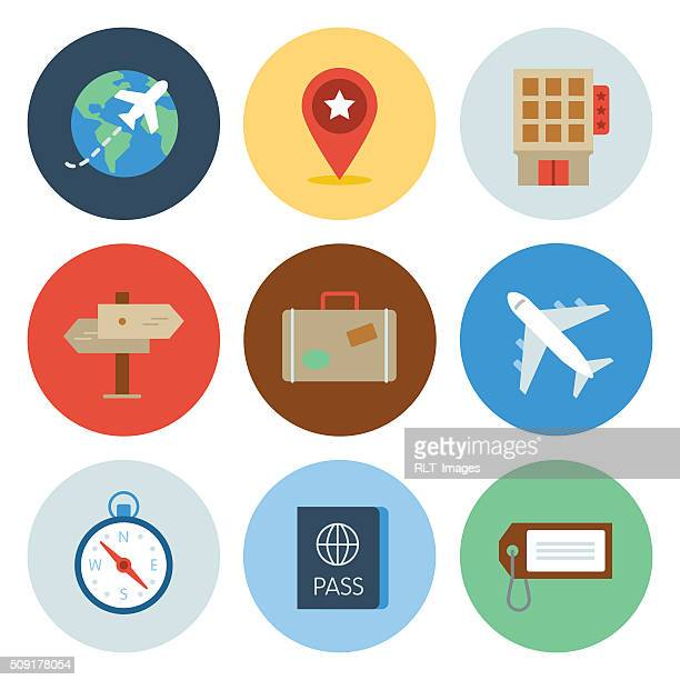 travel icons — circle series - travel tag stock illustrations, clip art, cartoons, & icons