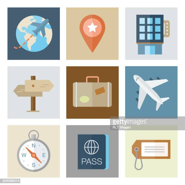 travel icons — flat series - luggage tag stock illustrations, clip art, cartoons, & icons