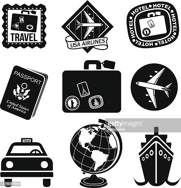 travel icons in black and white - luggage tag stock illustrations, clip art, cartoons, & icons