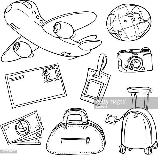 travel icons in black white - luggage tag stock illustrations, clip art, cartoons, & icons