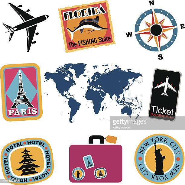 travel icons in color - liberty island stock illustrations, clip art, cartoons, & icons
