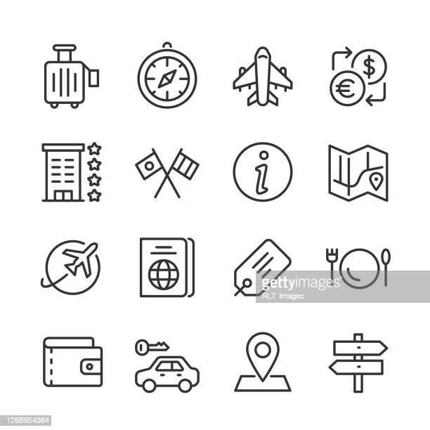 travel icons — monoline series - information symbol stock illustrations