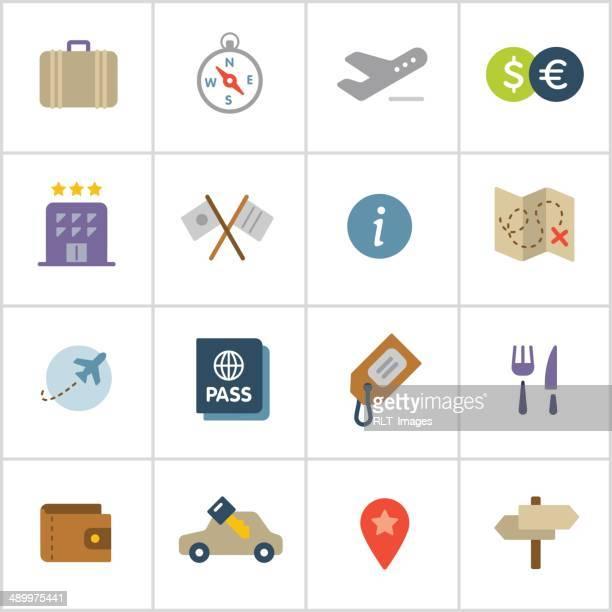 ilustraciones, imágenes clip art, dibujos animados e iconos de stock de iconos de viaje — serie de polietileno - alquiler de coche