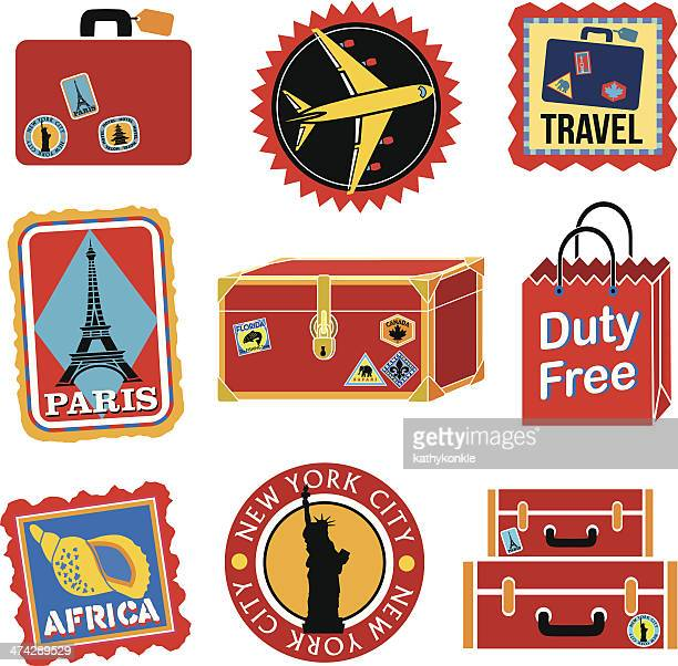 Tema de ícones de viagem vermelho