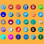 travel icons set in a flat style.