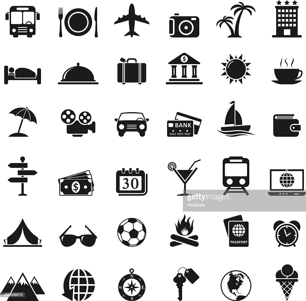 Conjunto de iconos de viaje : Ilustración de stock
