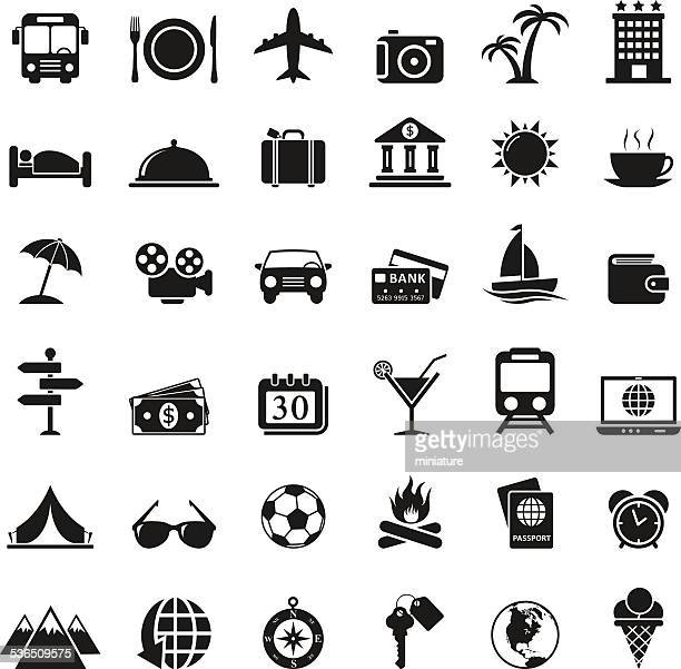 travel icons set - tourism stock illustrations