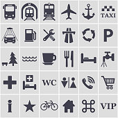 Travel icons set. Vector.