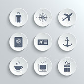 Travel icons set - vector white round buttons