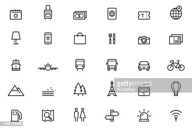 travel icons - magnification stock illustrations