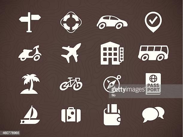 ilustraciones, imágenes clip art, dibujos animados e iconos de stock de iconos de viajes - alquiler de coche