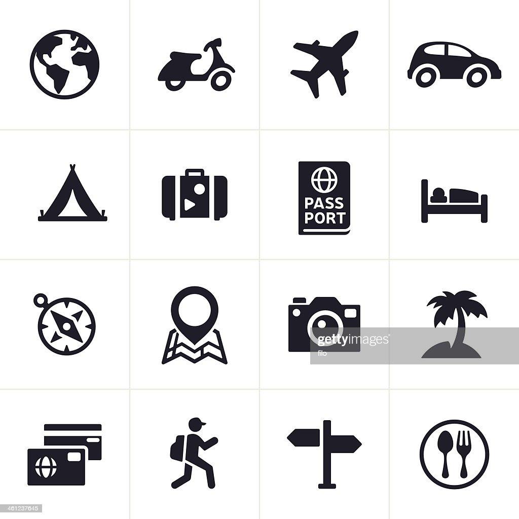 Iconos de viajes : Ilustración de stock
