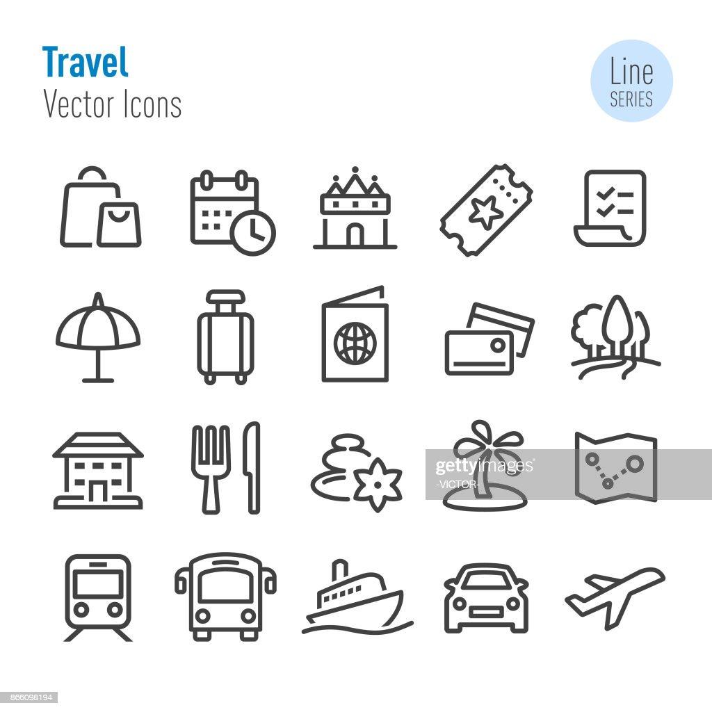 Iconos - Vector línea serie de viajes : Ilustración de stock