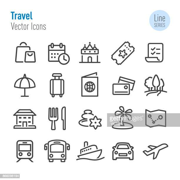 travel icons - vector line series - business travel stock illustrations, clip art, cartoons, & icons
