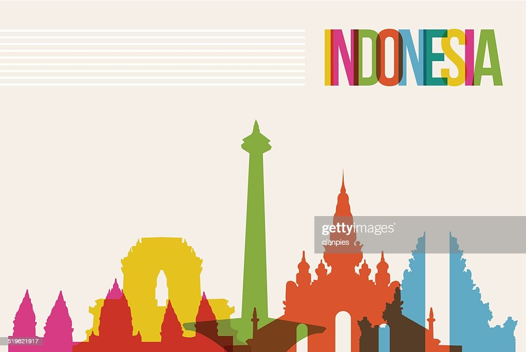 Travel Indonesia destination landmarks skyline background