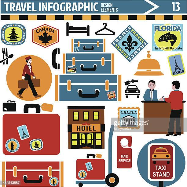 travel infographic design elements - luggage tag stock illustrations, clip art, cartoons, & icons