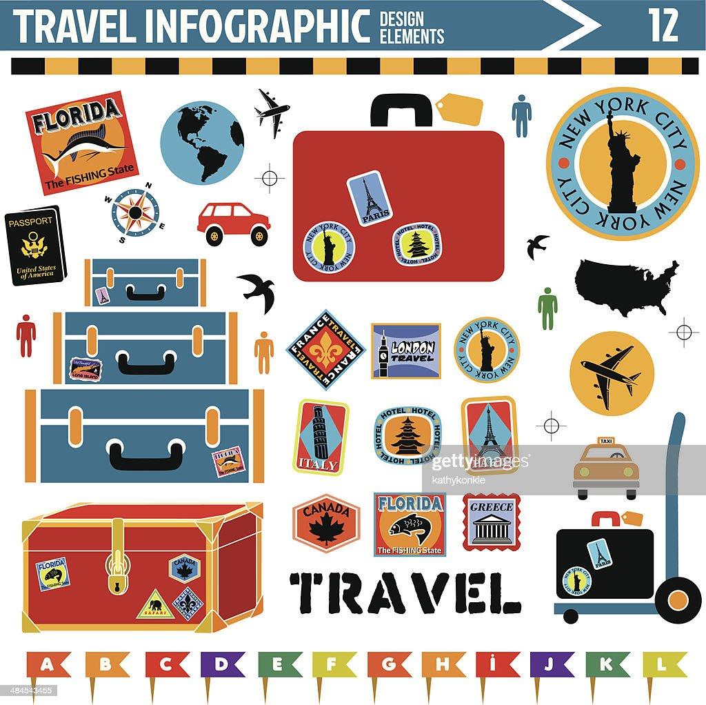 travel inforgraphic design elements : stock illustration