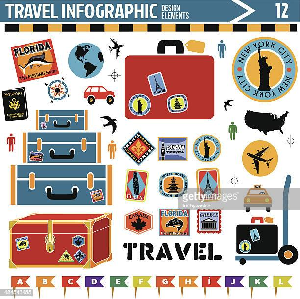 travel inforgraphic design elements - travel tag stock illustrations, clip art, cartoons, & icons