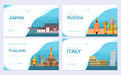 Travel information brochure card set. Landscape country Japan, Russia, Thailand, Italy of template of flyer, web banner, ui header, enter site. Layout invitation modern