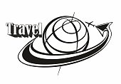 Travel. Inscription. Logo. Flying around the globe. Aircraft. Arrow. Concept for the tourism industry. Black-white.  Vector.