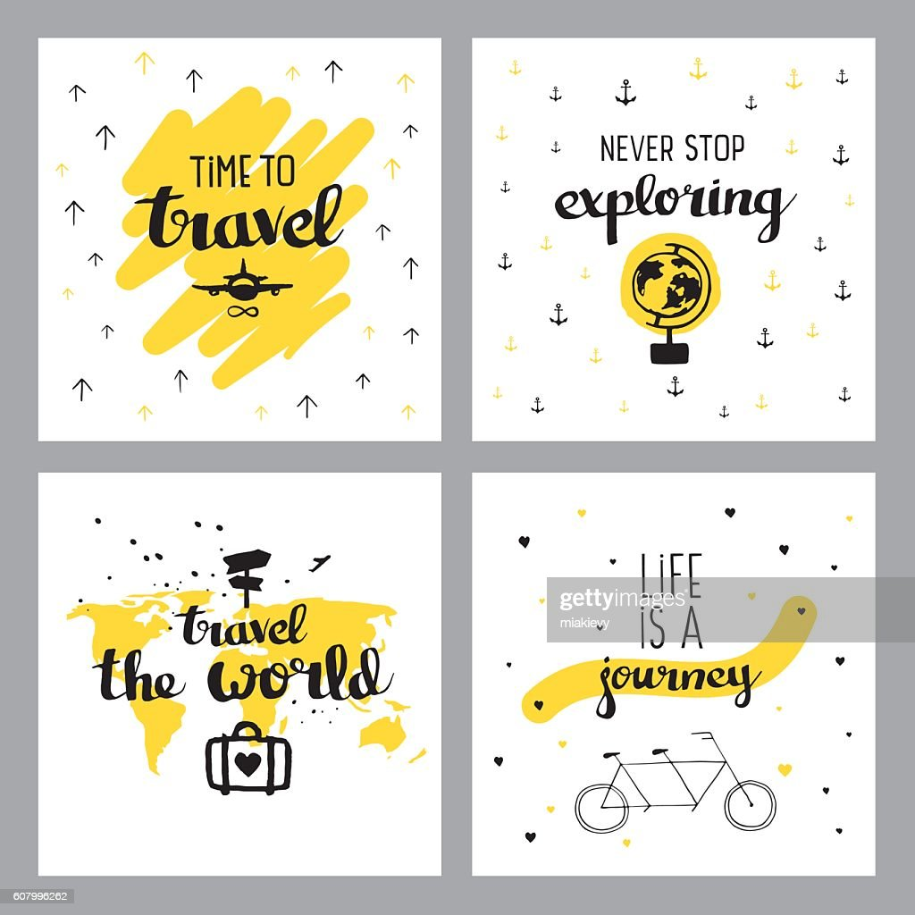 Travel inspiring quotes : stock illustration
