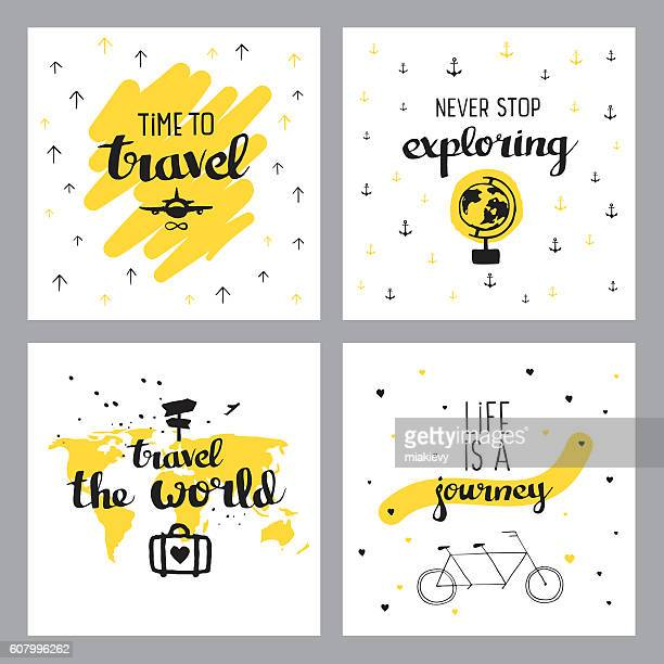 illustrations, cliparts, dessins animés et icônes de travel inspiring quotes - voyage
