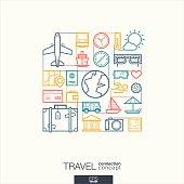 Travel integrated thin line symbols
