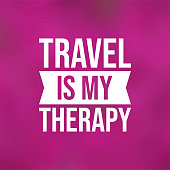 travel is my therapy. Life quote with modern background vector