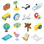 Travel isometric icons set