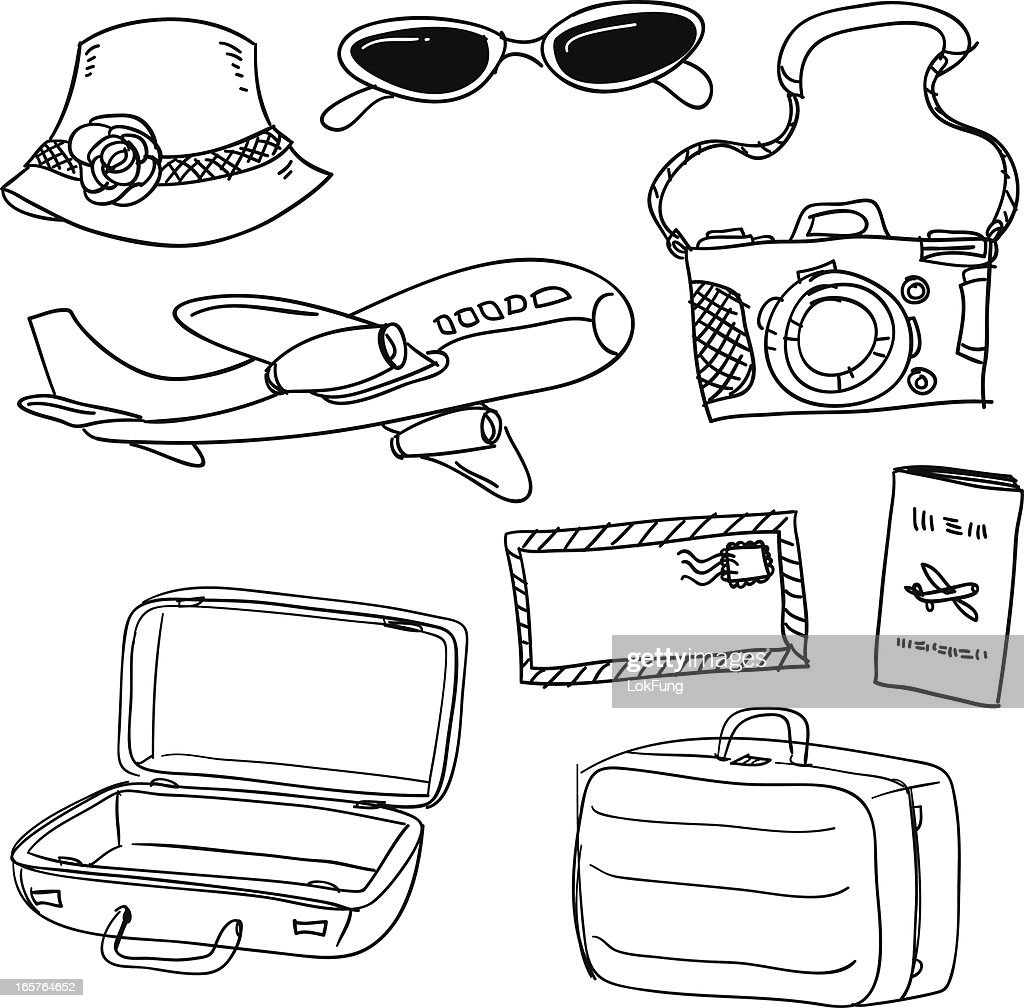 Travel items in black and white : stock illustration