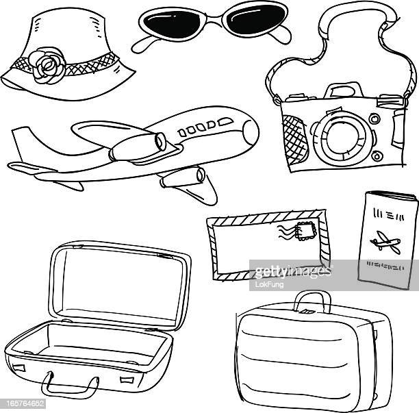 Travel items in black and white
