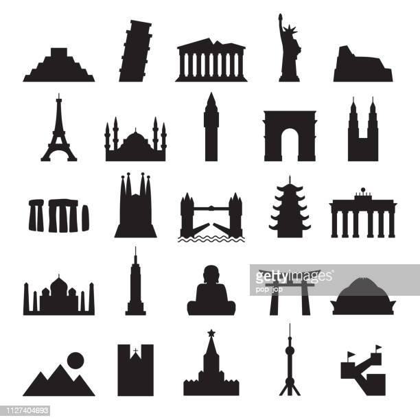 Travel Landmark Icons - Contour Black Solid Vector