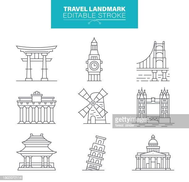 旅行ランドマークアイコン、編集可能なストローク - セントラル・ロンドン点のイラスト素材/クリップアート素材/マンガ素材/アイコン素材