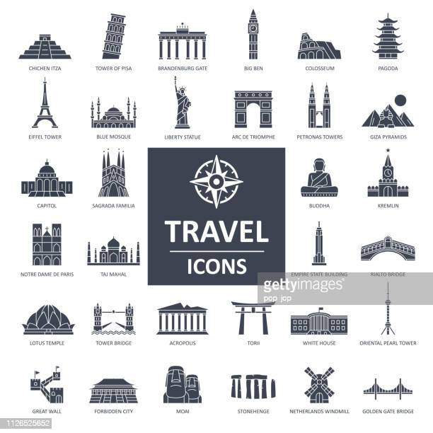 travel landmark icons - thin line vector - famous place stock illustrations