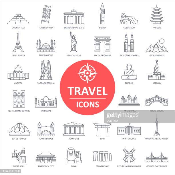 travel landmark icons - thin line vector - tourist attraction stock illustrations