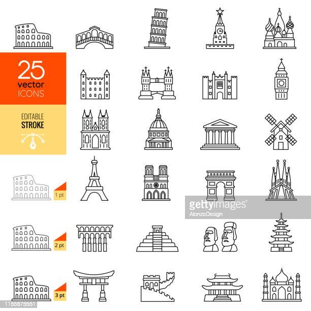 travel landmark line icon set. editable stroke. - famous place stock illustrations