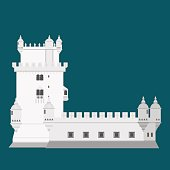 Travel landmark Portugal elements. Flat architecture and building icons Tower Belem. National portuguese symbol.