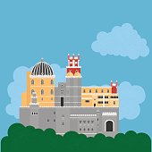 Travel landmark Portugal elements. Flat architecture and building icons Sintra castle Pena Palace, National portuguese symbol.