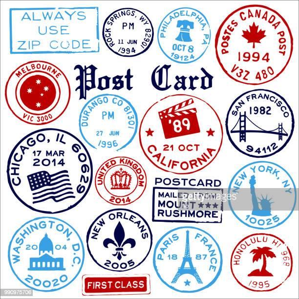 travel landmark stamps - business travel stock illustrations