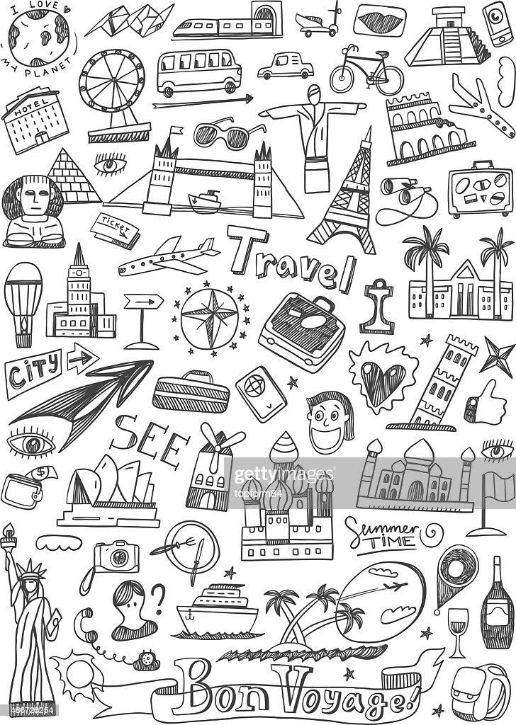 travel landmarks doodles icons set