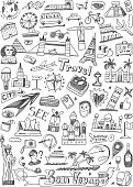 travel landmarks doodles icons set
